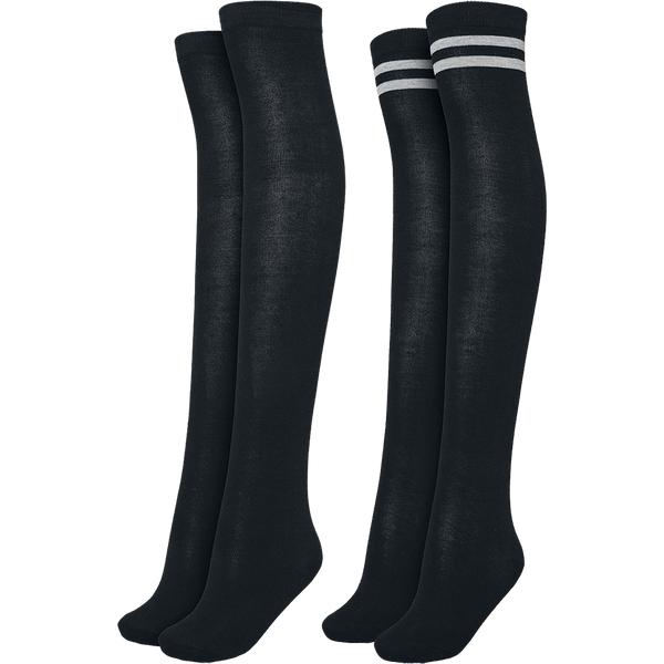 Urban Classics - Overknee 2-Pack Black/Black & Black/Grey - Socken