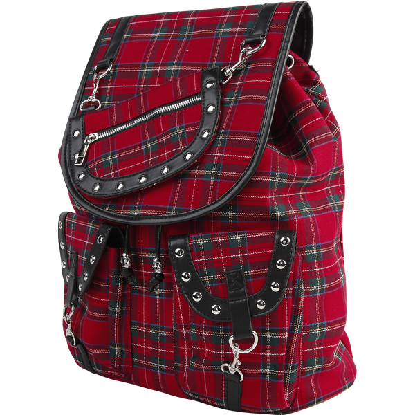 Banned - Red Tartan Backpack - Backpack - black-red