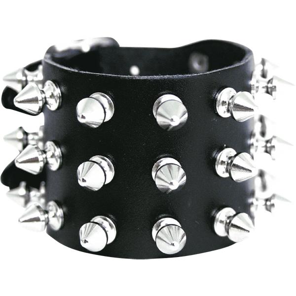 Spikes bracelet - 3-rows - Leather bracelet - black