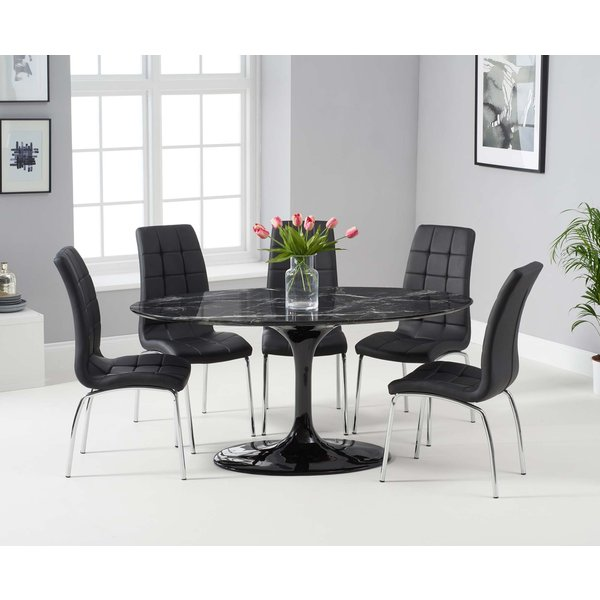 Bryce 160cm Black Oval Marble Dining Table with Calgary Chairs