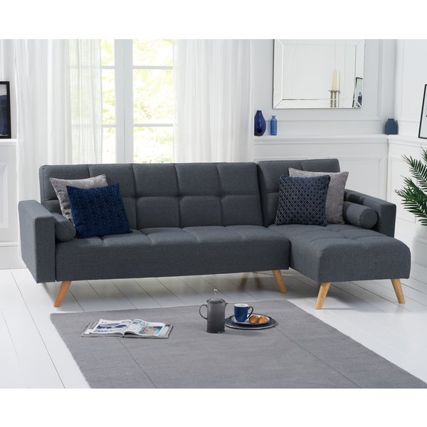 Addison Sofa Bed Right Facing Chaise in Grey Linen