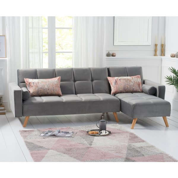 Addison Sofa Bed Right Facing Chaise in Grey Velvet