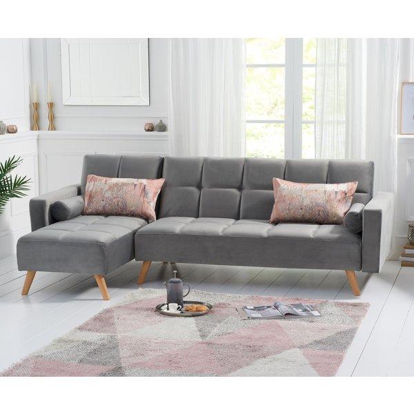 Addison Sofa Bed Left Facing Chaise in Grey Velvet