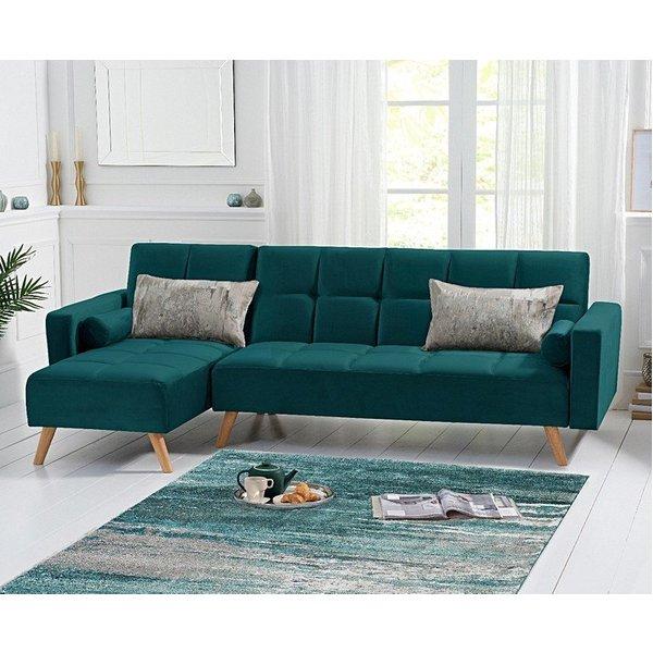Addison Sofa Bed Left Facing Chaise in Green Velvet