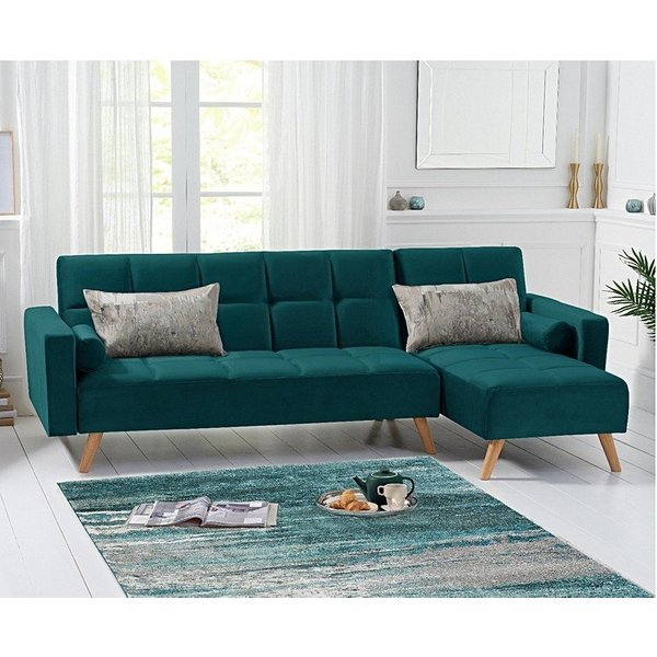 Addison Sofa Bed Right Facing Chaise in Green Velvet