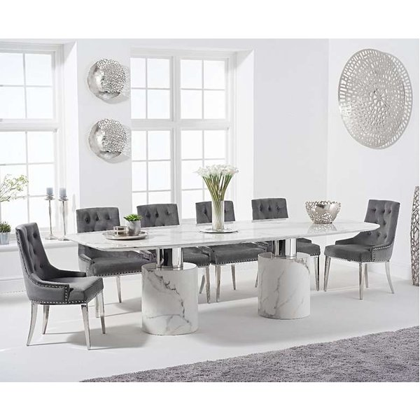 Alona 260cm White Marble Table with Talia Velvet Chairs