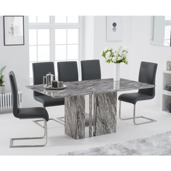 Adi 180cm Grey Marble Dining Table with Malaga Chairs