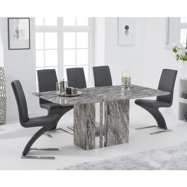 Adi 180cm Grey Marble Dining Table with Hampstead Z Dining Chairs