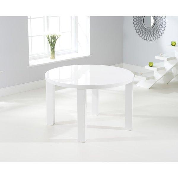 Atlanta 120cm Round White High Gloss Dining Table
