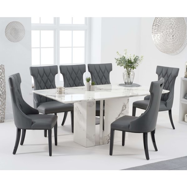 Adi 180cm White Marble Dining Table with Freya Chairs