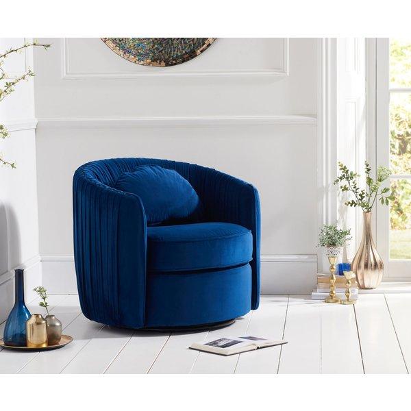 Sadie Blue Velvet Swivel Chair