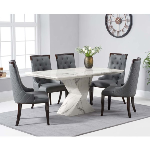 Andre 160cm White Marble Dining Table with Angelica Chairs