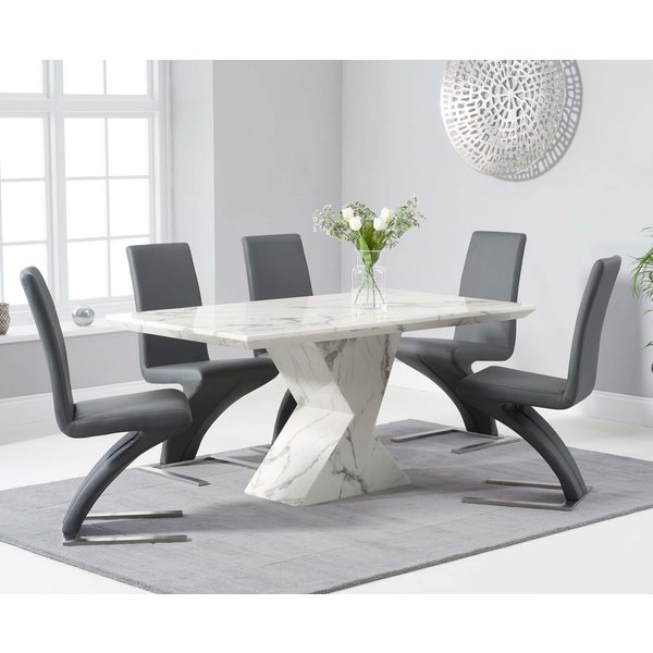 Andre 160cm White Marble Dining Table with Hampstead Z Chairs