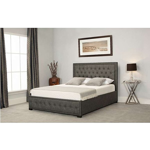Alison Grey Fabric Ottoman King Size Bed