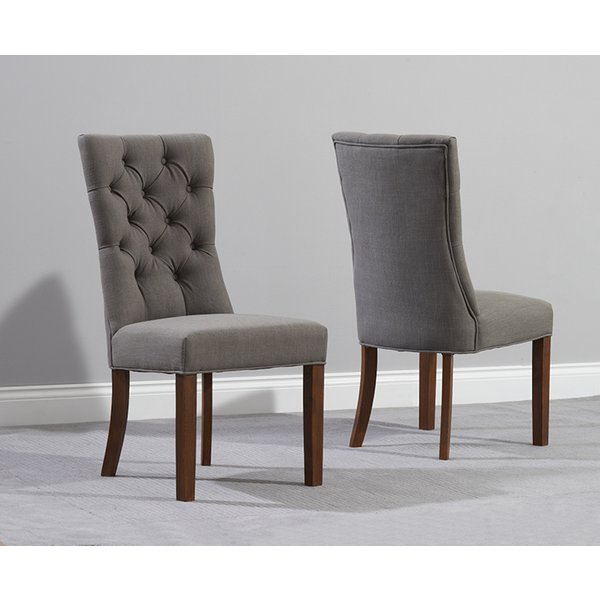 Anais Grey Fabric Dark Oak Leg Dining Chairs (Pairs)