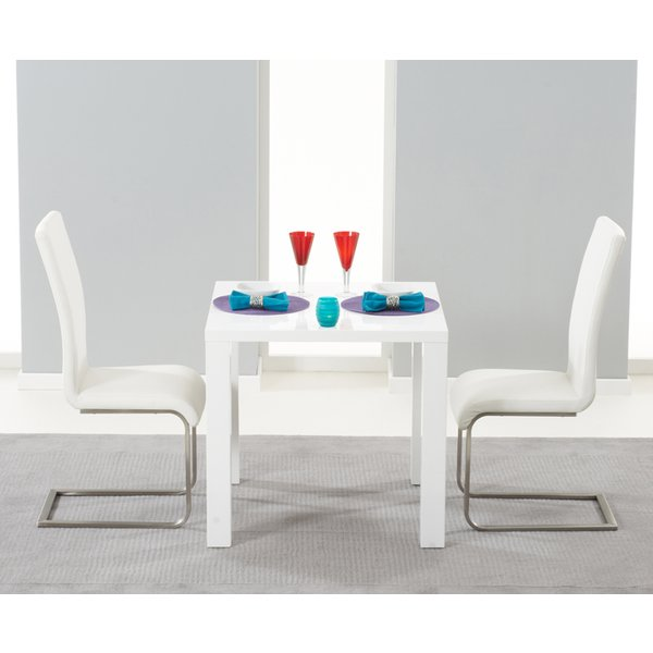 Atlanta 80cm White High Gloss Dining Table with Ivory-White Malaga Chairs