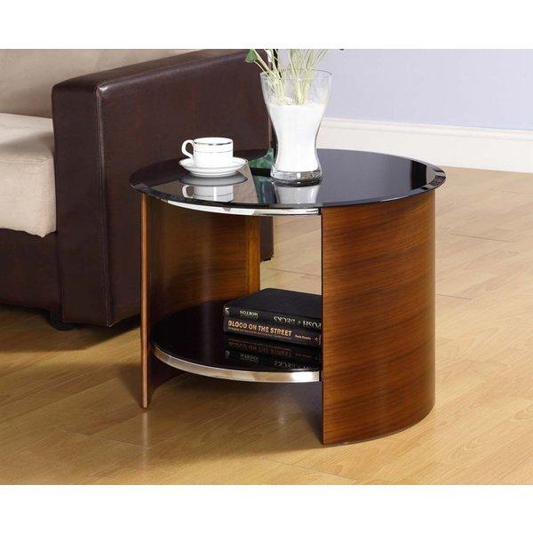 Curve Walnut Round Side Table
