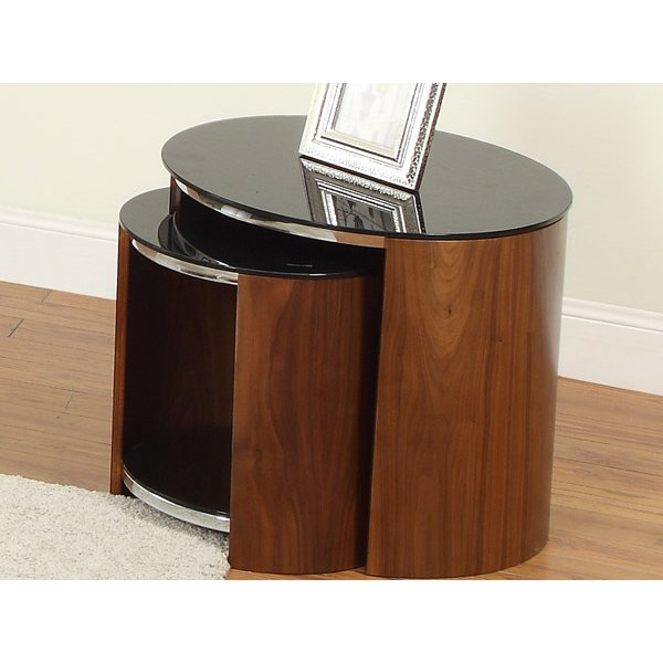 Jual Walnut and Black Glass Nest of Tables