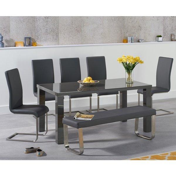 Atlanta 160cm Dark Grey High Gloss Dining Table with Malaga Chairs and Atlanta Grey Bench