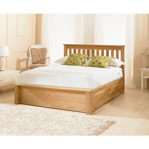 Monaco Solid Oak Ottoman Double Bed