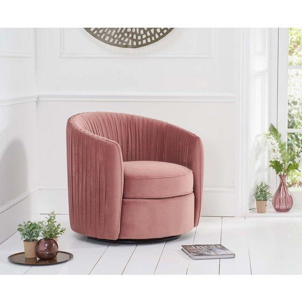 Sadie Blush Velvet Swivel Chair