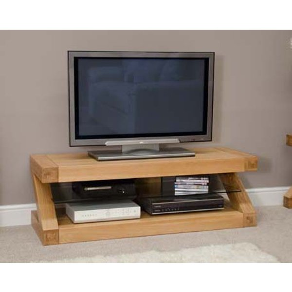 Z 120cm Solid Oak TV Unit