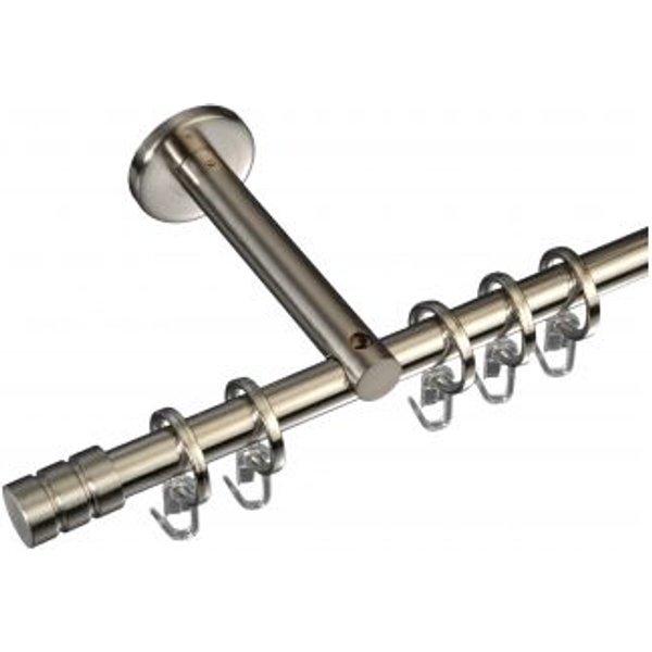 Gardinenstange Zylinder mit Rille 16 mm Stilgarnitur Innenlauf Farbe:edelstahl optik Größe:1 läufig Länge:200 cm