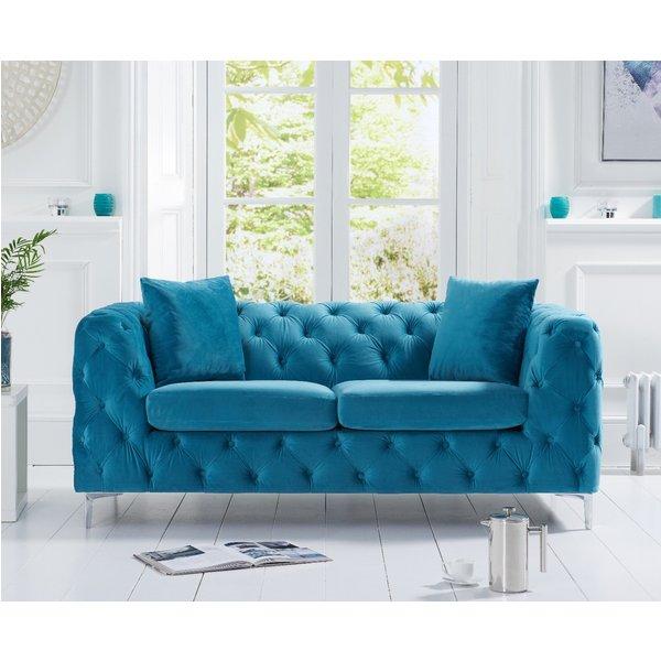 Amara Teal Plush 2 Seater Sofa