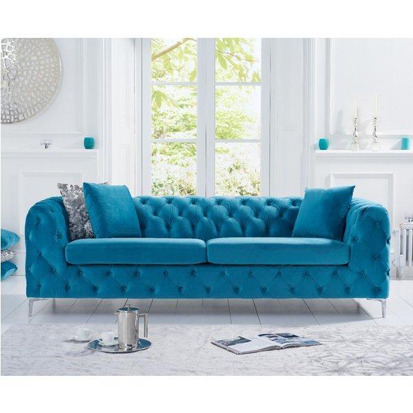 Amara Teal Plush 3 Seater Sofa