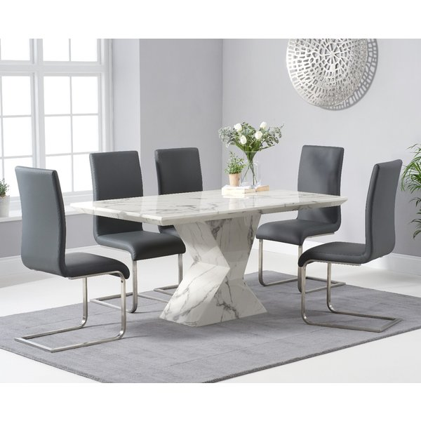 Aaron 160cm White Marble Dining Table With Malaga Dining Chairs