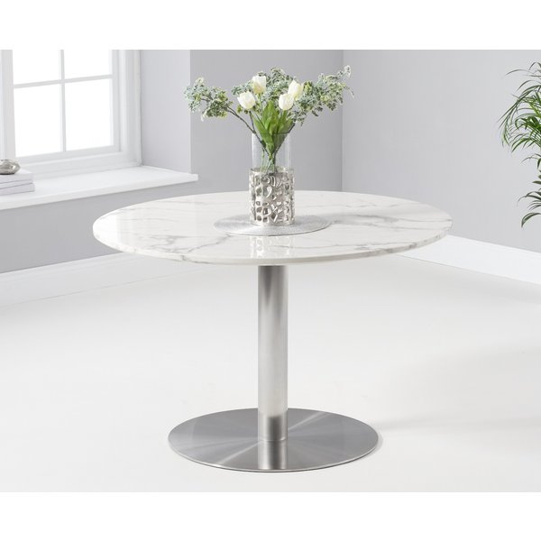 Bali 120cm Round Marble White Dining Table