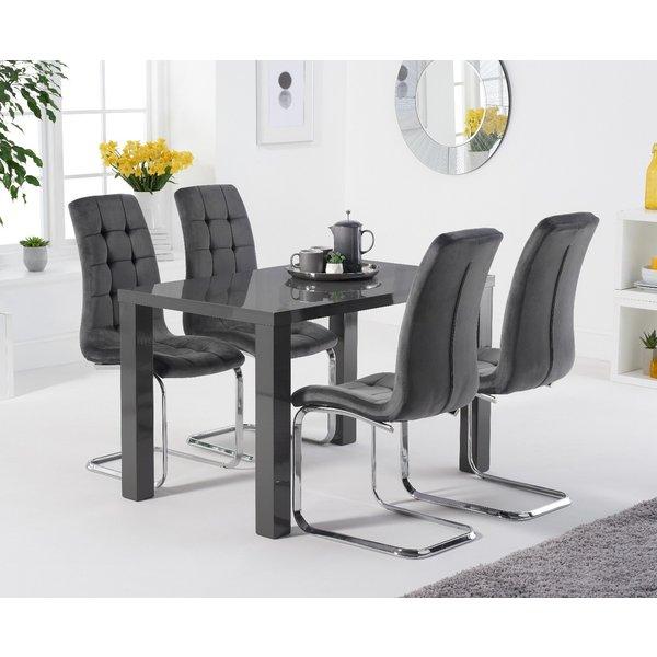 Atlanta 120cm Dark Grey High Gloss Table with Lorin Velvet Chairs - Blue, 4 Chairs