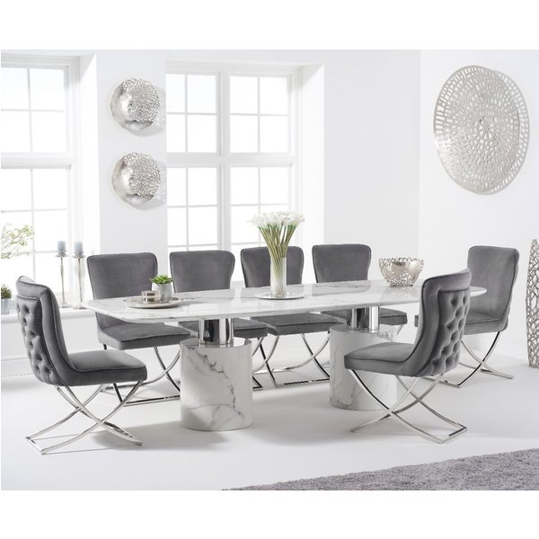 Antonio 260cm White Marble Table with Giovanni Velvet Chairs - Grey, 6 Chairs