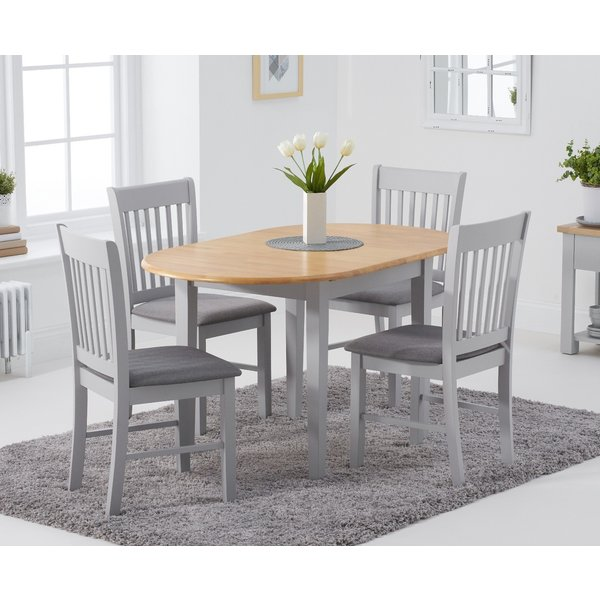 Amalfi Oak and Grey Extending Table with Chairs with Fabric Seats - Oak and Grey, 4 Chairs