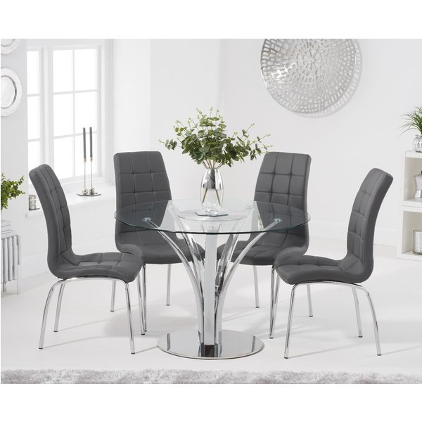 Aria 110cm Glass Dining Table with Calgary Faux Leather Chairs - Black, 4 Chairs