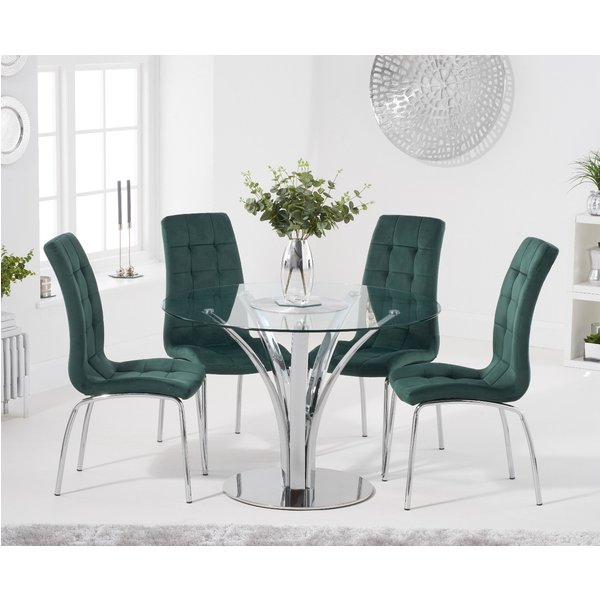 Aria 110cm Glass Dining Table with Calgary Velvet Chairs - Blue, 4 Chairs