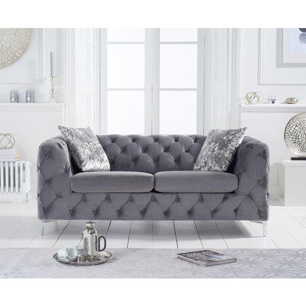 Amara Grey Velvet 2 Seater Sofa
