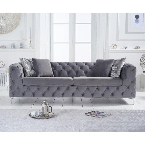 Amara Grey Velvet 3 Seater Sofa