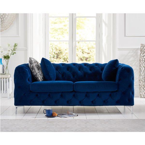 Amara Blue Plush 2 Seater Sofa