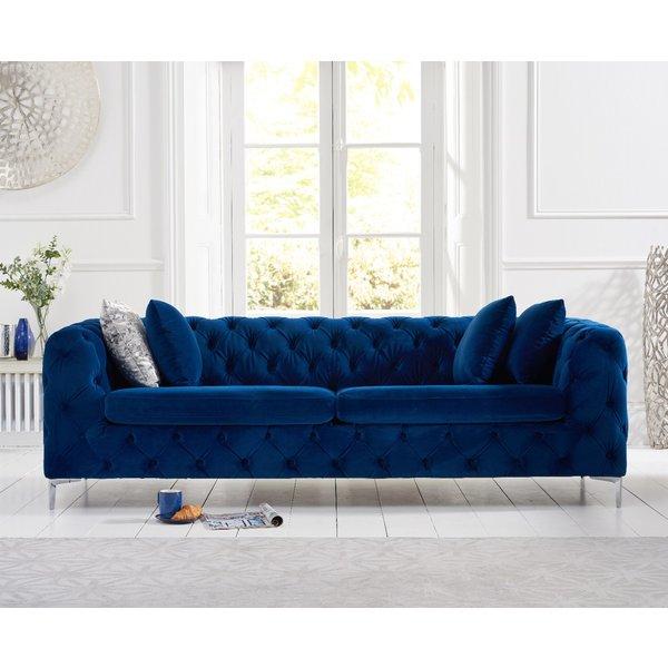 Amara Blue Plush 3 Seater Sofa