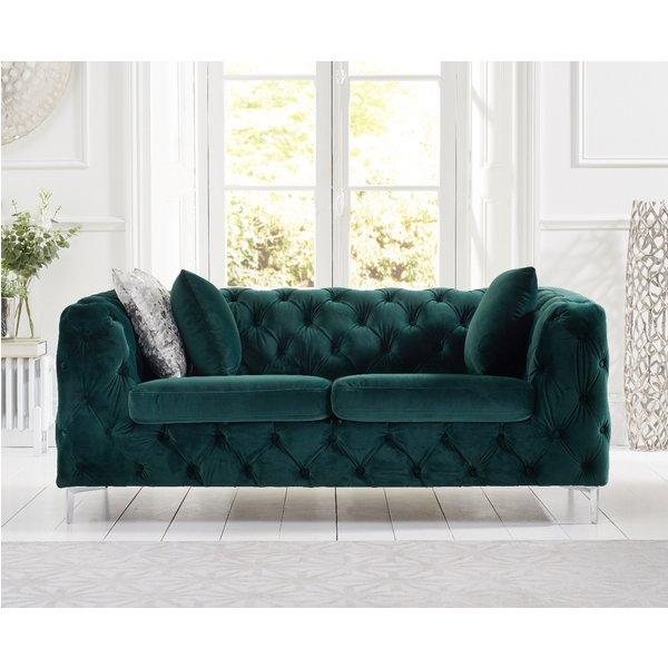 Amara Green Plush 2 Seater Sofa