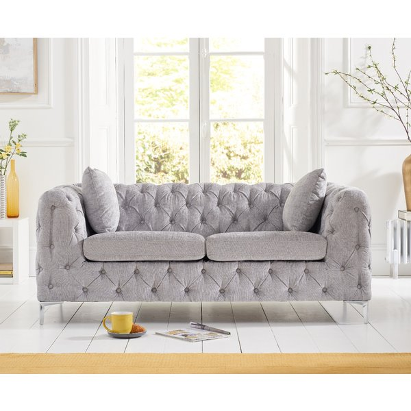 Amara Grey Plush 2 Seater Sofa