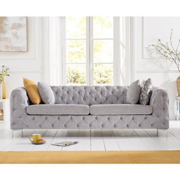 Amara Grey Plush 3 Seater Sofa