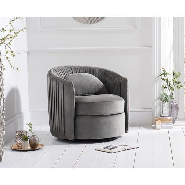 Sarah Grey Velvet Swivel Chair