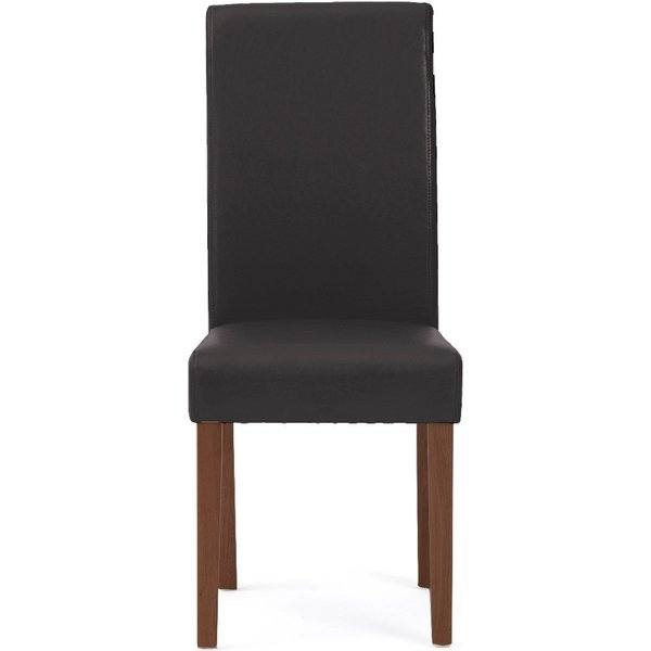 Albany Brown Dark Leg Faux Leather Dining Chairs - Brown, 2 Chairs