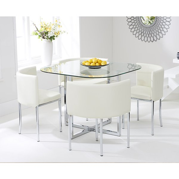 Algarve Glass Stowaway Dining Table with Cream High Back Stools - Cream, 4 Chairs