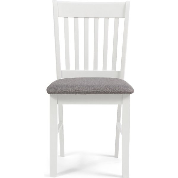 Amalfi White Dining Chairs with Grey Fabric Seats - White, 2 Chairs