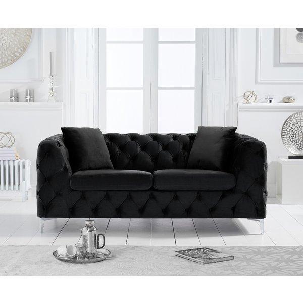 Amara Black Velvet 2 Seater Sofa