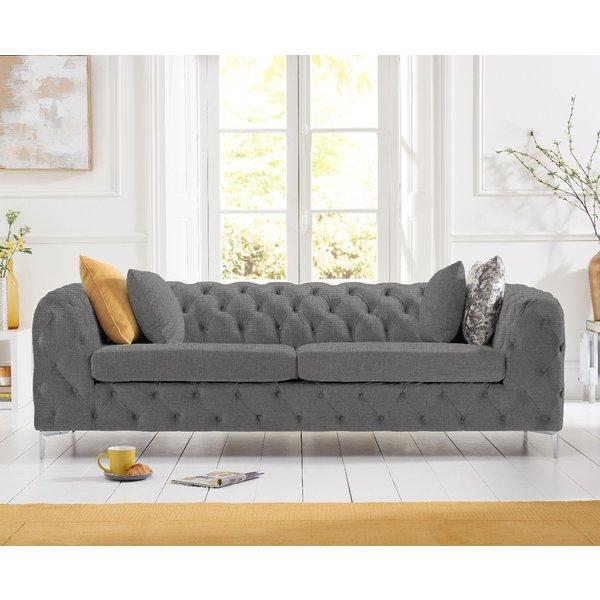 Amara Grey Linen 3 Seater Sofa