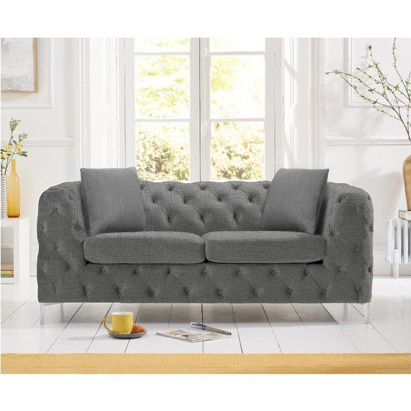 Amara Grey Linen 2 Seater Sofa
